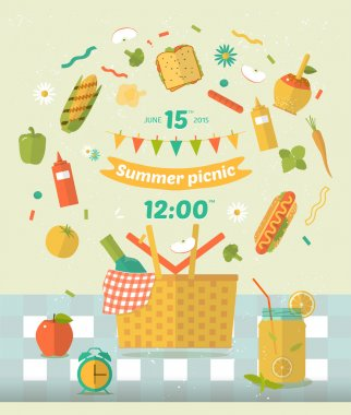 Vector family picnic glade illustration. Food and pastime icons. Flat. Barbecue object,  picnic items. Design of invitation card. Creative banner with flying food. Natural ingredients on tablecloth .