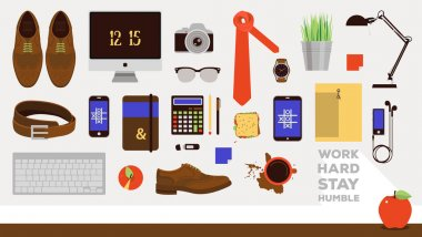 Vector workplace concept. Set of business icons in flat design. Every day carry businessman office items collection. Outfit accessories, things, tools, devices, essentials, equipment. Man workplace