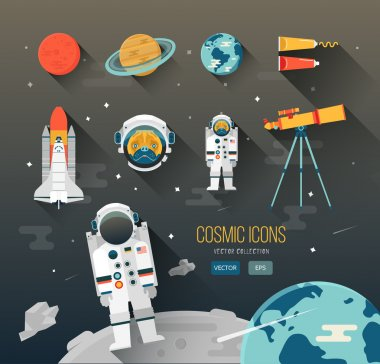 Vector flat education space illustration. Planets of solar system. Astronaut of space program. Cute character pug. Space Shuttle. Telescope. Space food. Planet Mars, Saturn, Earth. Space icon design