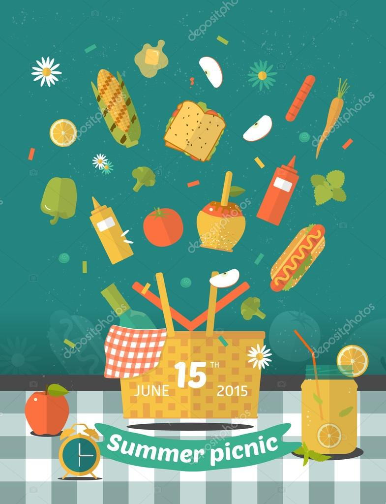 Vector family picnic glade illustration food and pastime icons barbecue object picnic items design of invitation card creative banner with flying food vetor de vivali stopboris Choice Image
