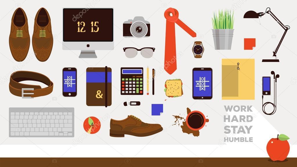 Vector Arbeitsplatzkonzept Set Von Business Icons In Flaches Design
