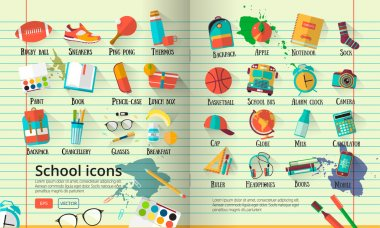 Big vector school  illustration on line notebook paper. Education icons set. Back to school creative background with teenager objects