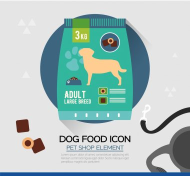 Vector icon of dog dry food. Pet snacks in pouches.Flat style.
