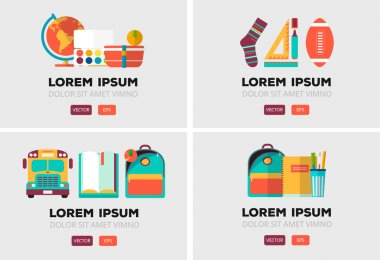 Vector set of education logos in flat style. Colorful back to school emblem. Design elements