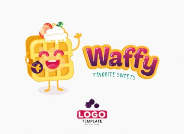 Vector food logo design. Belgium waffles with ice cream and strawberries isolated on white background.