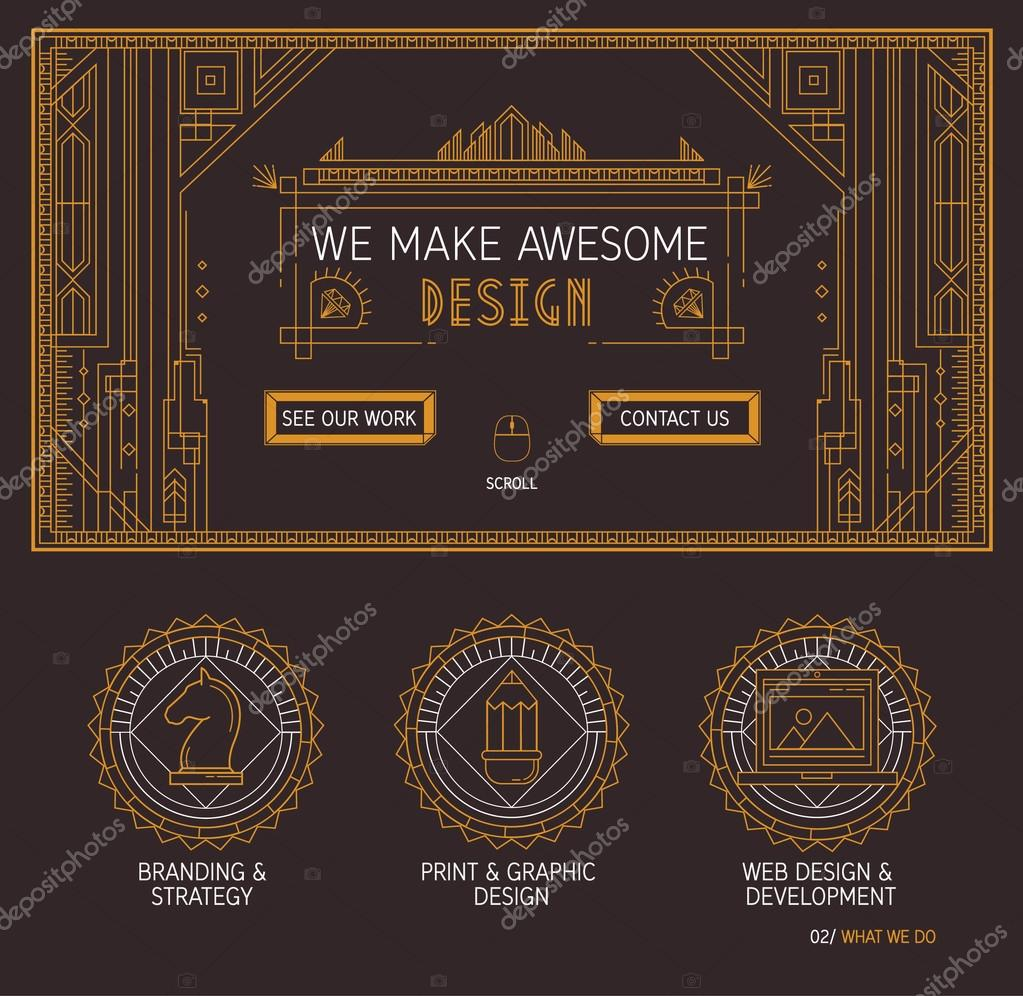 Vector one page web site template with thin line pattern icons of