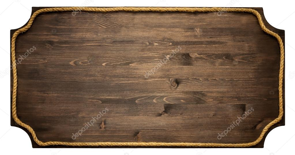 Wooden frame board with rope isolated on white background