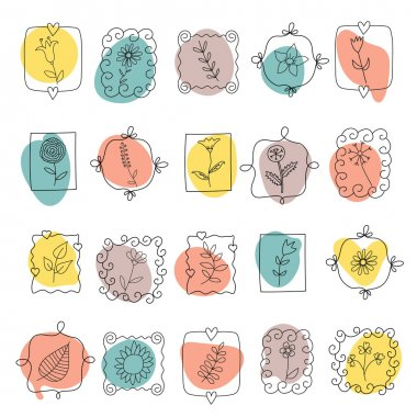 Set of spring doodle flowers and plants