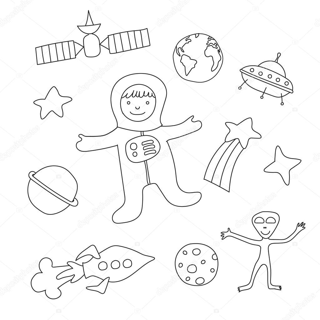 Insieme Di Oggetti Per Bambini Dei Cartoni Animati Sul Tema Di Outer
