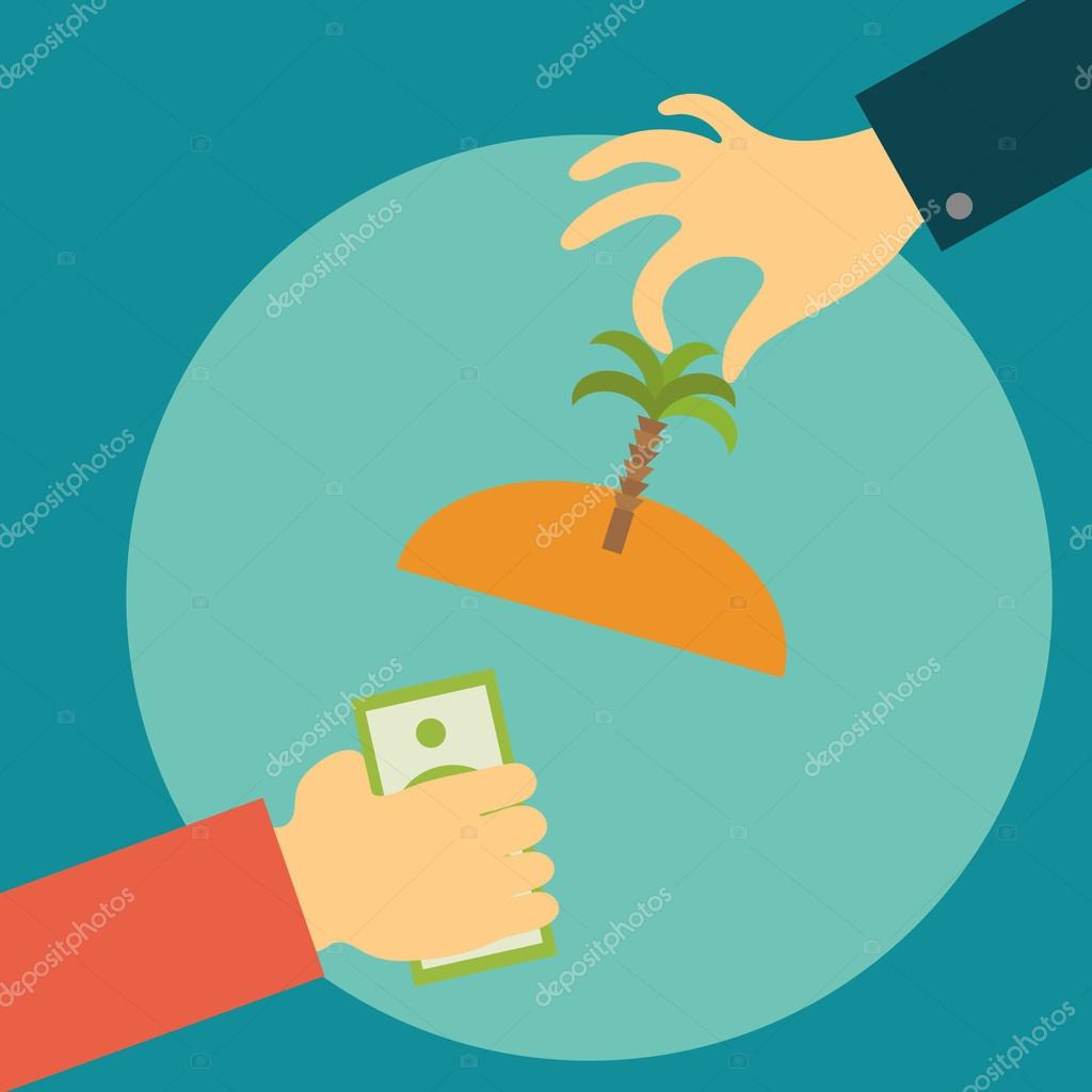 Hand of a realtor holds out the island with palm tree