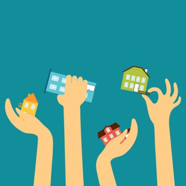 Hands of the sellers or buyers reach various cute houses