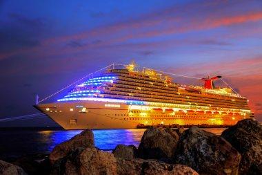 Cruise ship anchored off Curacao