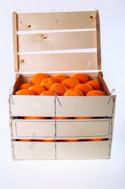 Oranges in large wooden box