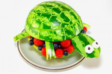 Watermelon Turtle - Turtle carved from a watermelon