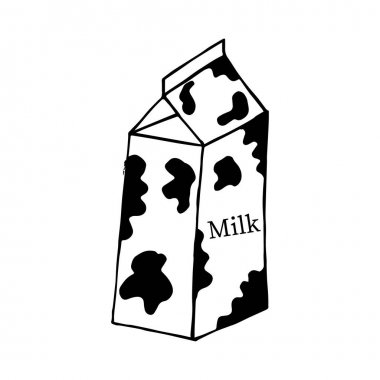 Milk carton drawing. Hand drawn doodle style milk glass and label vector illustration isolated on white background. icon