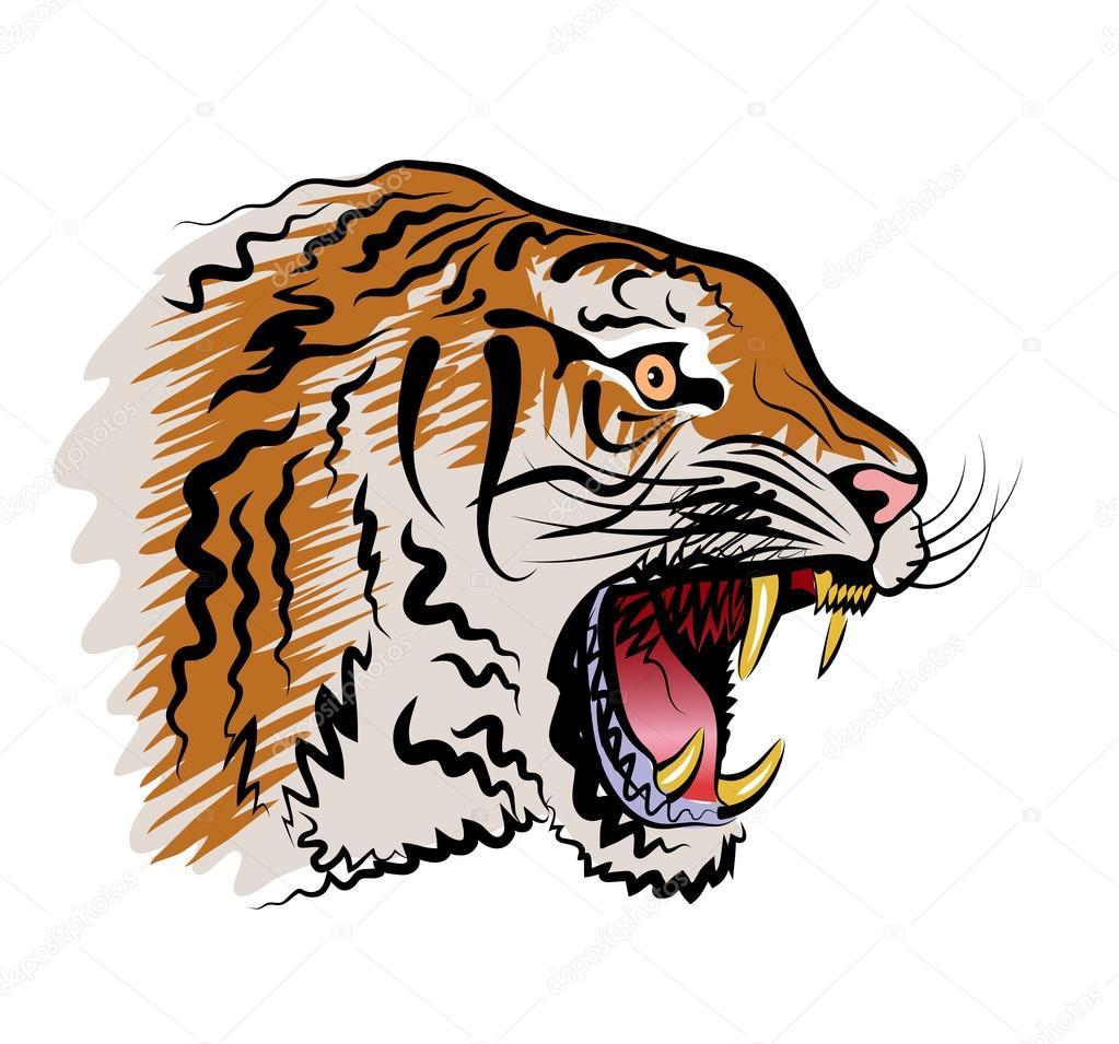 T te de tigre en col re image vectorielle alexcosmos - Image tete de tigre ...