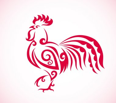 Red rooster on white