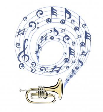 Brass trumpet and notes