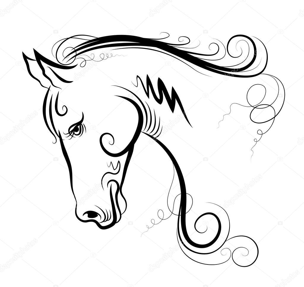Dibujo de cabeza de un caballo — Vector de stock © alexcosmos #67805801