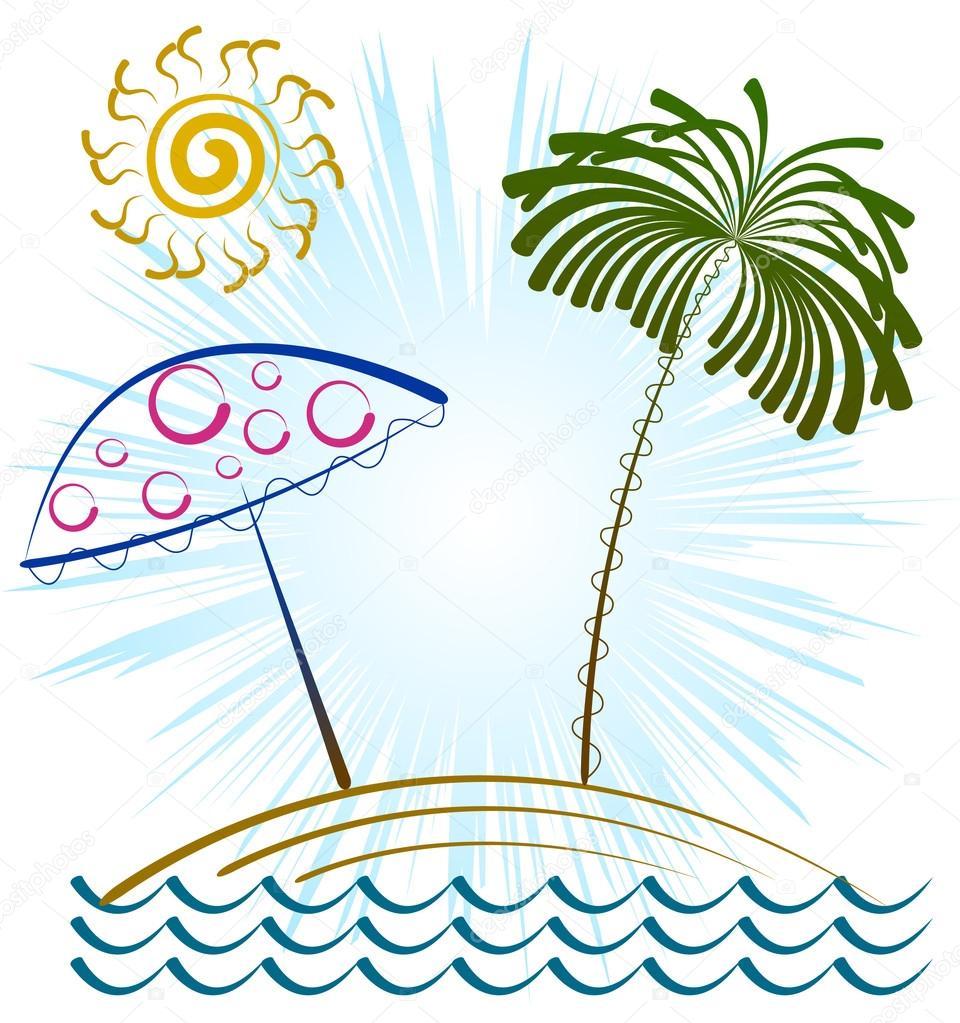 Dibujos Playas Y Palmeras Playa Palmeras Sombrilla De Playa Y