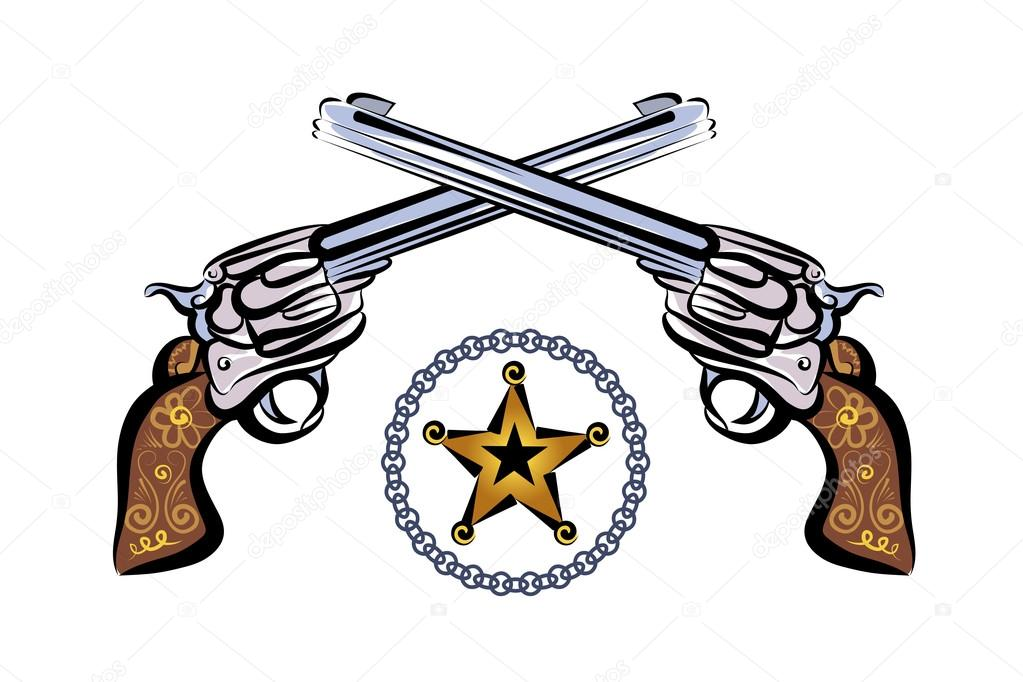 Dos Revolver Y Estrella De Sheriff