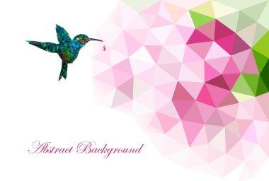 Background with polygonal hummingbird