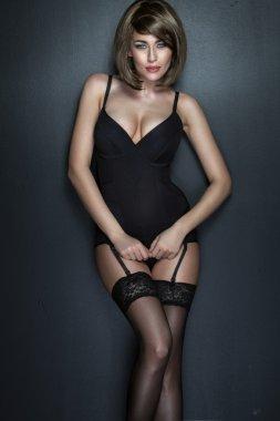 Sensual brunette lady wearing sexy underwear