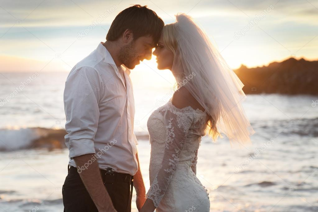 Romantic marriage couple on the perfect honeymoon