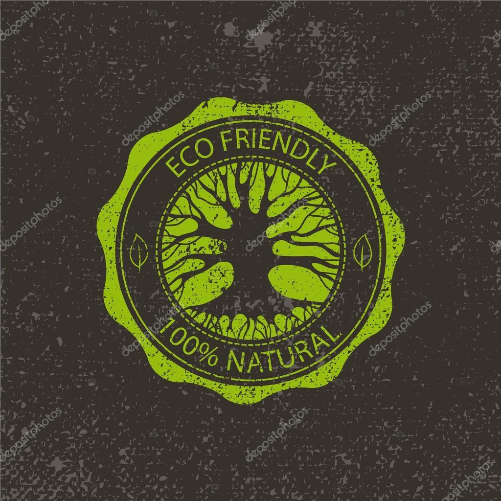 circle eco logo with tree