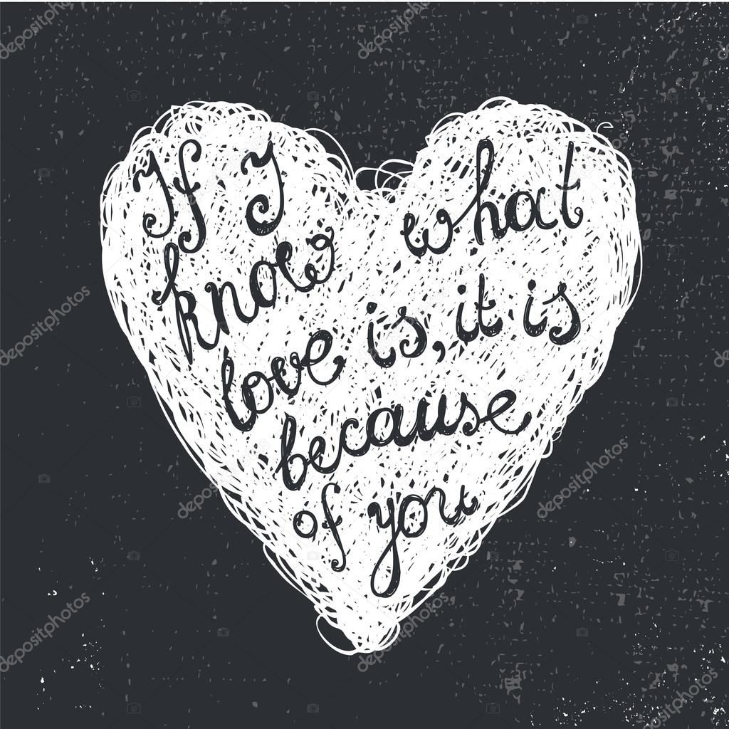 Black And White Love Quote In Heart