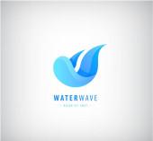 Vektor abstrakte Welle Logo, Wasser. Welliges blaues Symbol, Gefälle
