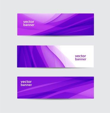 Purple wavy flowing silk banners