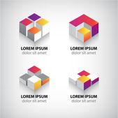Geometrická abstraktní datové krychle ikony