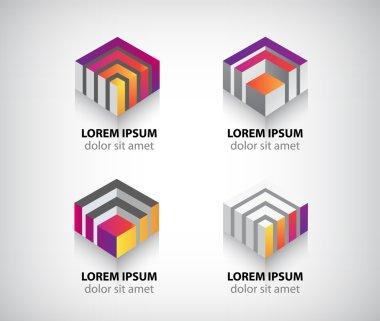 Geometric cube  icons