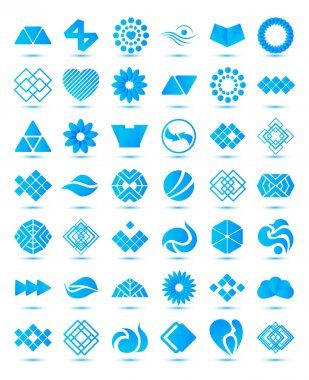 Set of vector various geometrical abstract icons, signs, symbols, logos collection with shadows isolated stock vector
