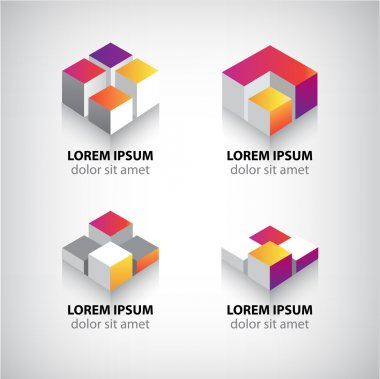Geometric abstract cube icons