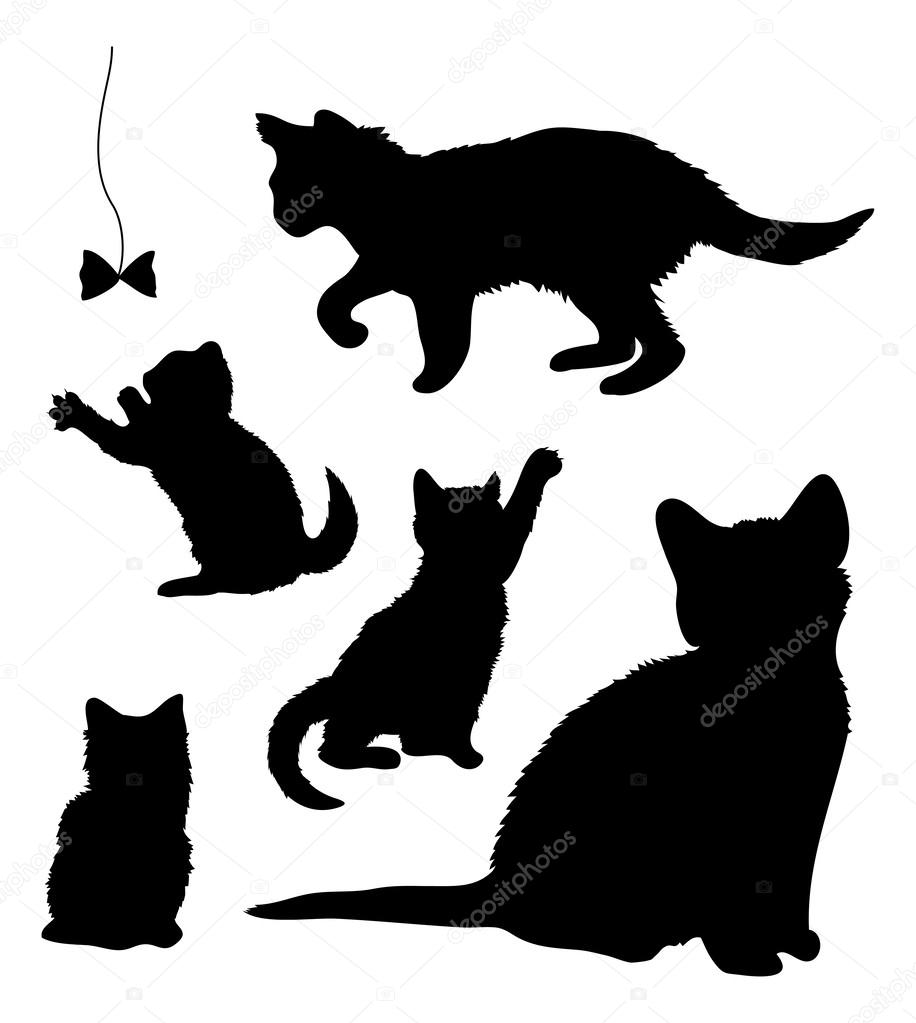 Silueta De Gatito Jugando Siluetas De Tocar Los Gatitos Vector