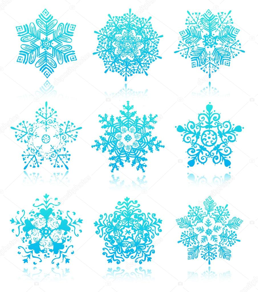 Snowflakes with reflections