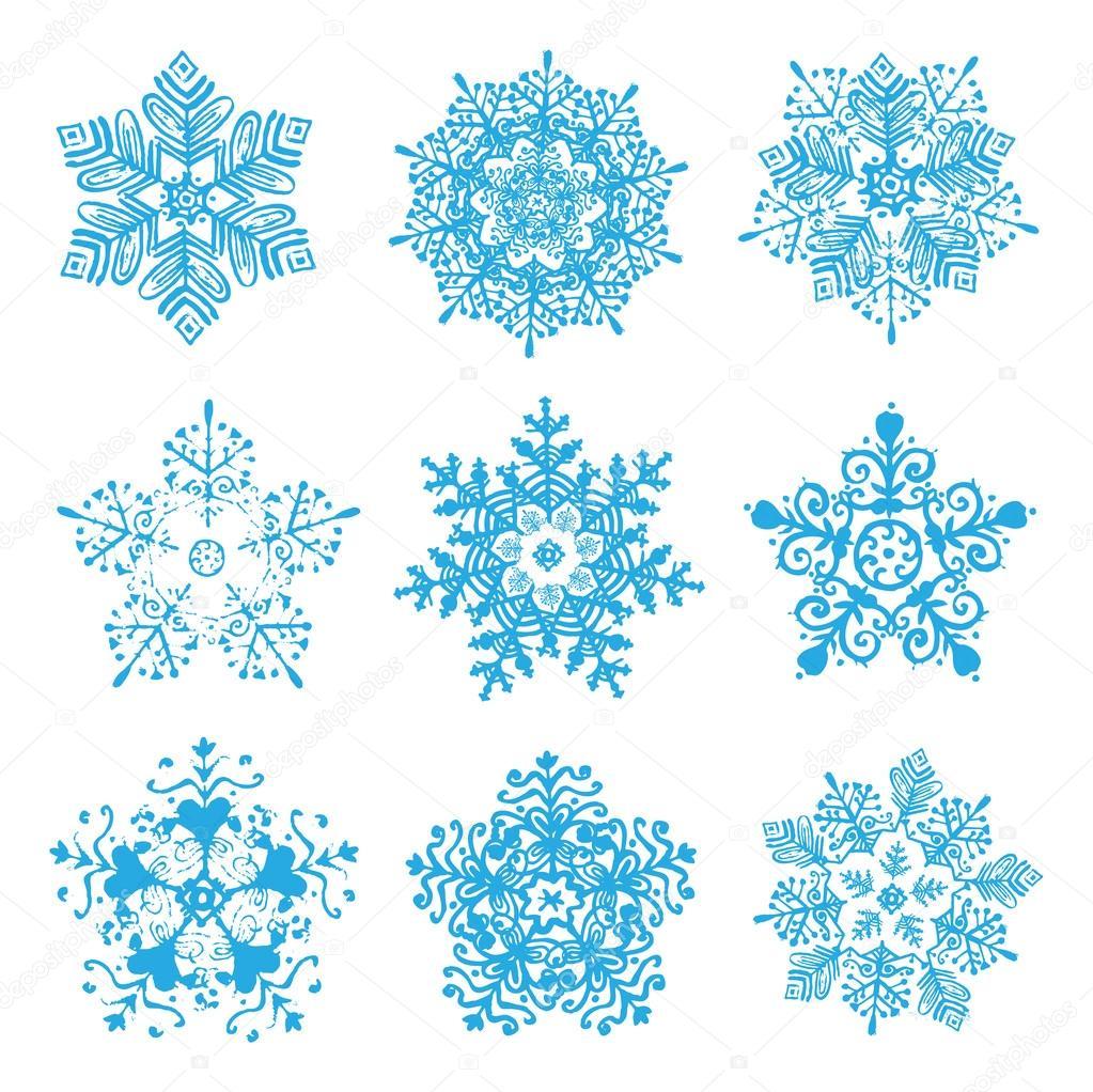 Snowflakes silhouettes
