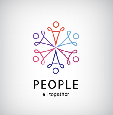 Teamwork, people together icon