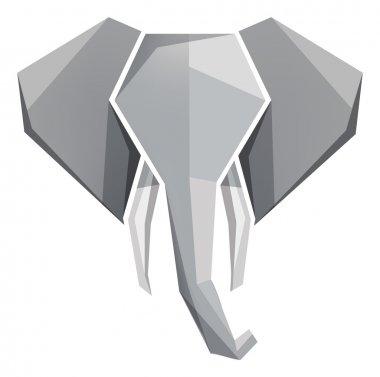 Origami elephant head icon