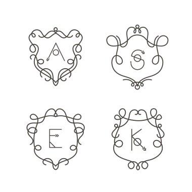 Set of monogram design templates