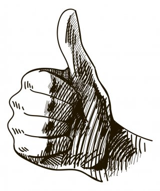 Graphic hand with thumb up