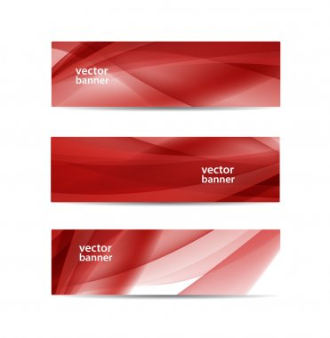 Abstract wavy red banners
