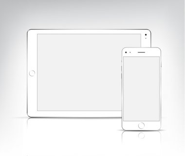 White tablet pc and phone