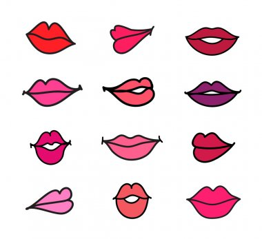 Set of illustration cartoon female lips on white background stock vector