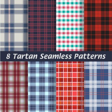 Vector set of tartan squared seamless abstract fabric, background, patterns