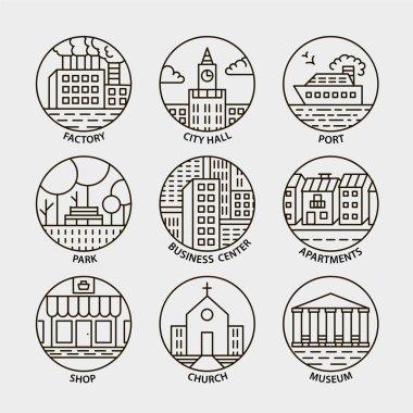 line city circle icons