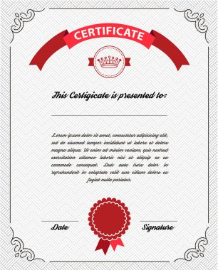 Template diploma, certificate currency