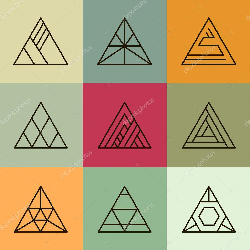 geometric shapes, triangles set